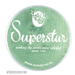 Superstar golden green shimmer is a light greenish teal with hints of golden shimmer in a 45 gr jar for face and body painting