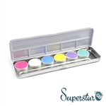 Superstar pastel color pallet featuring Bubblegum, White, Pastel Blue, Soft Yellow, Pastel Lilac, Pastel Green for face paint and body art