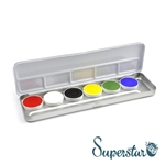 Superstar bright color pallet featuring Fire Red, White, Black, Bright Yellow, Green, Bright Blue for face paint and body art