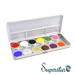 Superstar bright color pallet featuring Fire Red, White, Black, Bright Yellow, Green, Bright Blue, Bubblegum, Silver (shimmer), Gold (shimmer), Chocolate, Purple, Dark Orange for face paint and body art