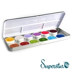 Superstar fairy tale and animal 12 color pallet: Ochre, Silver White (shimmer), Pastel Lilac, Light Purple, Cerise, Plum, Bronze (shimmer), Copper (shimmer), Light Green, Grass Green, Pastel Blue, Cobalt