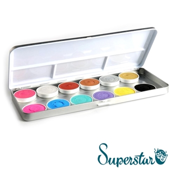 superstar duo shimmer & pastel 12 color pallet: Cyclamen (shimmer), Silverwhite with Glitter (shimmer), Copper (shimmer), Bronze (shimmer), Silver (shimmer), Antique Gold (shimmer), Bubblegum, Pastel Blue, Pastel Green, Pastel Lilac, Soft Yellow, Black
