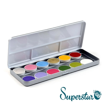 superstar botanical 12 color pallet: Silverwhite  (shimmer), Baby Pink (shimmer), Baby Blue (shimmer), Antique Gold (shimmer), Bright Yellow, Carmine Red, Purple Rain, Fuchsia, Light Green, Pastel Lilac, Green,  Line White