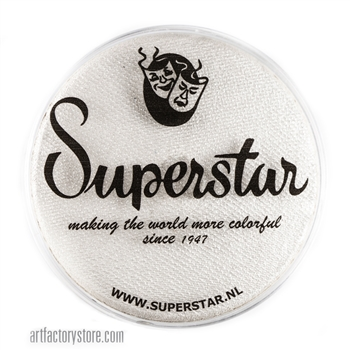 Superstar silver white shimmer is a soft white with a hint of silver and subtle shimmer in a 45 gr jar for face and body painting