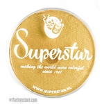 Superstar gold finch shimmer is a soft yellowish gold with subtle shimmer in a 45 gr jar for face and body painting