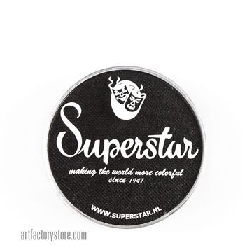 Superstar line black for creating a solid black base, tiger stripes and crisp outlines in 16 gr jar for face and body painting