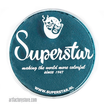 Superstar petrol blue is a bluish green hue for peacock or mermaid designs in a 45 gr jar for face and body painting