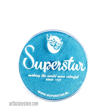 Superstar ziva shimmer is a bright light blue with subtle gold and green shimmer undertones in 16 gr jar for face and body painting