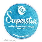 Superstar ziva shimmer is a bright light blue with subtle gold and green shimmer undertones in a 45 gr jar for face and body painting