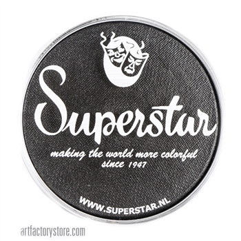 Superstar Graphite shimmer is a dark steel black with a metallic like finish in a 45 gr jar for face and body painting