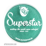 Superstar peacock shimmer is a bright, rich green with subtle shimmer in a 45 gr jar for face and body painting