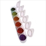 6 pack cosmetic glitter pop up cups featuring  Dark Green, Jade, Gold, Orange, Red, Purple