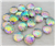 Round Rainbow Scale Gems for face painting bling, gem clusters, glitter paint, face painting, gems, rhinestones, stick on rhinestones