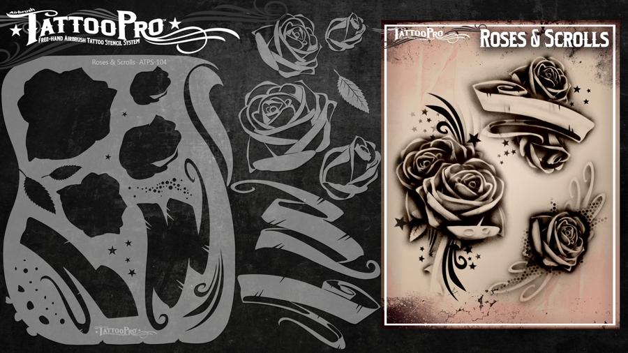 Tattoo Pro Stencils By Wiser Roses Scrolls Stencil