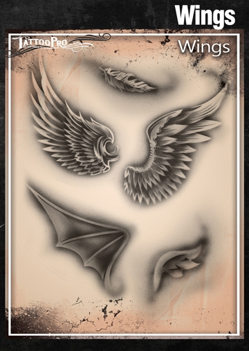 a11befaf7 Tattoo Pro Stencils by Wiser - Wings Stencils