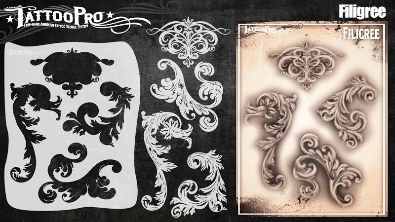Tattoo Pro Stencils by Wiser - Filigree & Flair Stencil