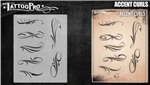 Tattoo Pro Stencils by Wiser - Accent Curls Stencils