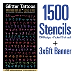 Large vinyl banner and glitter tattoo set containing 1500 tattoos