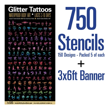 Large vinyl banner and glitter tattoo set containing 750 tattoos