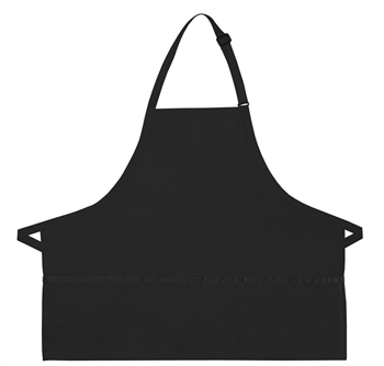 Black apron with 3 pockets and extra long ties