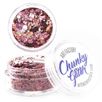 Rose Chunky loose glitter made using cosmetic grade chunky glitters.