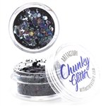 Raven Chunky loose glitter made using cosmetic grade chunky glitters. Inspired by the hokeys VT team
