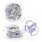 Silver Stars  Chunky loose glitter made using cosmetic grade chunky glitters.