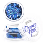 Blue Heart Chunky loose glitter made using cosmetic grade chunky glitters.