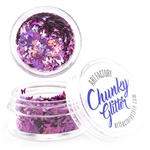 Pink Butterfly shaped Chunky loose glitter made using cosmetic grade chunky glitters.