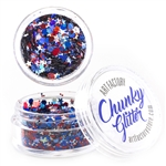 Fireworks Chunky loose glitter made using cosmetic grade chunky glitters.