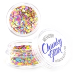 Glow in black light UV reactive Chunky loose glitter made using cosmetic grade chunky glitters.