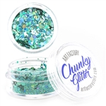 Blue Lagoon Chunky loose glitter made using cosmetic grade chunky glitters.