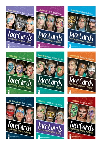 Face cards, face painting books, face paint display, face paint lessons