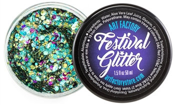 Mermaid festival glitter made with chunky green and purple glitter in a gel base. Glitter gel for face painting, add glitter to your face design with this sparkly product!