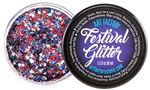 Fireworks Festival glitter made using cosmetic grade chunky red, white and blue glitters.