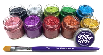 Kit includes 10 Glitter Glaze Jars 1oz (30ml) each featuring Black, Silver, Green, Kelly Green, Blue, Rose, Purple, Red, Orange and Gold. As well as 1 Art Factory Filbert Brush (compatible with size 10)