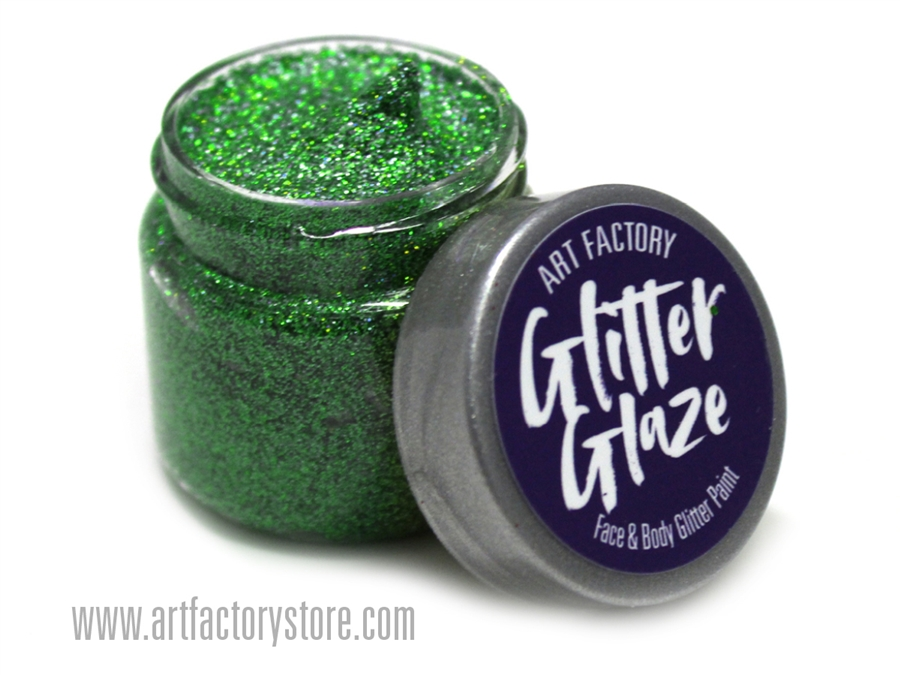 Kelly Green Glitter Glaze Face Body Paint In One Oz Jar