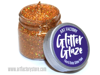Orange Glitter Glaze Face & Body Paint in one oz jar