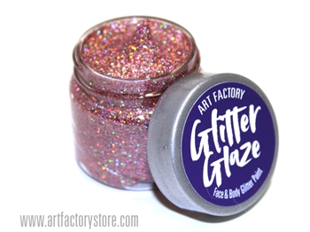 Rose Gold Glitter Glaze Face & Body Paint in one oz jar