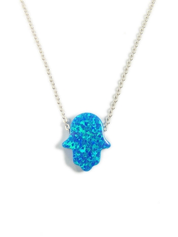 "Blue Opal Hamsa Necklace with 16"" Silver chain"