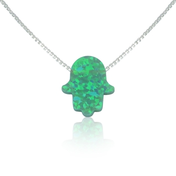 "Green Opal Hamsa Necklace with 16"" Silver chain"