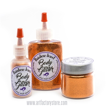 orange cosmetic glitter in several sizes