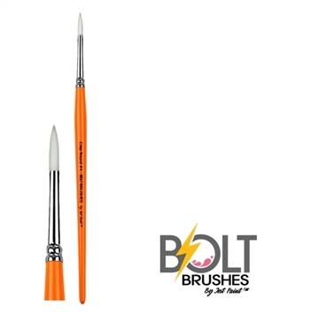 Number 4 Bolt Crisp Line Brushes by Jest Paint are synthetic Taklon and wooden handle.