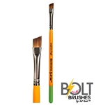 Bolt brush short firm angle for one stroke roses and butterflies face painting with thick handle