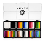 Kraze Split Cake Splash Paint Palette Wax-based, highly pigmented, water activated makeup for face and body painting.