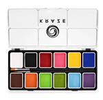 Kraze Fundamentals Paint Palette Wax-based, highly pigmented, water activated makeup for face and body painting.