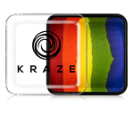 Kraze Really Rainbow Split Cake Wax-based, highly pigmented, water activated makeup for face and body painting.