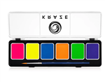 Kraze Neon 6 Color Paint Palette Wax-based, highly pigmented, water activated makeup for face and body painting.