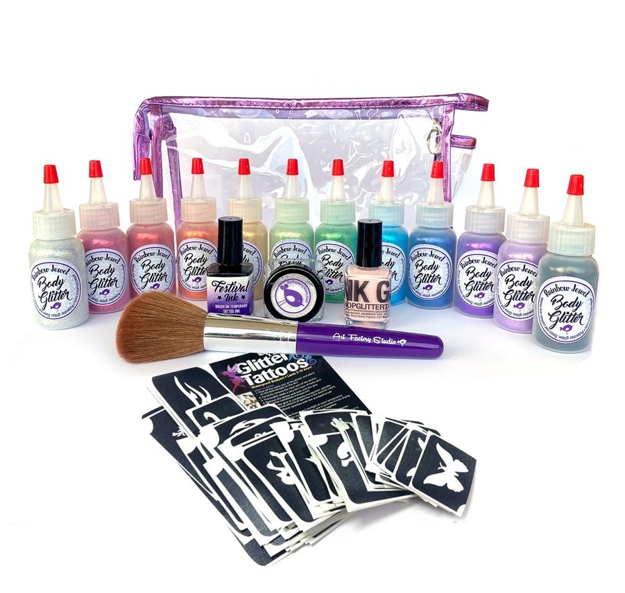 Ybody Pro Kit Metallic Glitter Poof Bottles Amp 100 Stencil Set