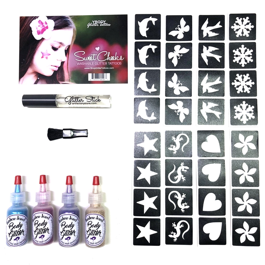 Sweet Cheeks Kit 32 Cheek Glitter Tattoo Stencils